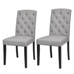 2-Set Dining Chair Linen Fabric Kitchen Room Seat Wood Accen