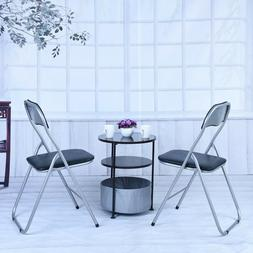 2Pcs Black Folding Chairs Fabric Upholstered Padded Seat Met