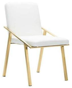 32.3 in. Dining Chair in White and Gold