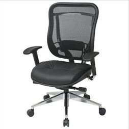 Office Star 818A High Back Chair w/ Leather Seat in Black/Gu