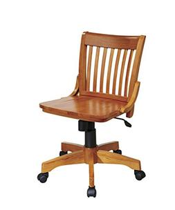 Office Star Deluxe Armless Wood Bankers Desk Chair with Wood