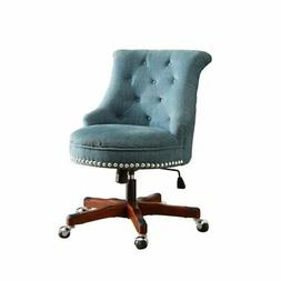 Bowery Hill Armless Upholstered Office Chair in Aqua
