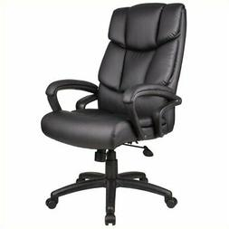 High-Back Leather Executive Chair with Arms Tilt: Spring