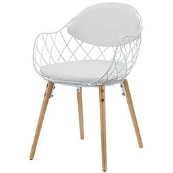Modway Basket Metal Dining Chair in White White