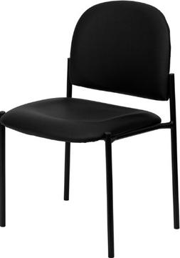 Flash Furniture Comfort Black Vinyl Stackable Steel Side Rec