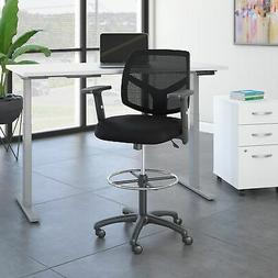 Bush Business Petite Mesh Back Drafting Chair with Chrome Bl