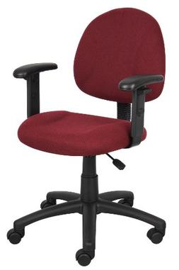 Boss Deluxe Posture Chair with Adjustable Arms, Burgundy