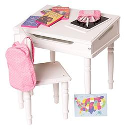 18 Inch Doll Furniture Desk and Chair Set - Classroom Access