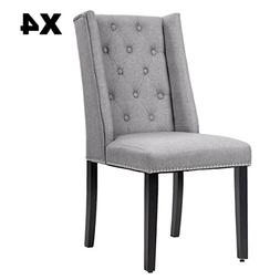 Elegant Dining Side Chairs Button Tufted Fabric w Nailhead S