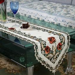 Elegant Retro Floral Embroidered Soft Tablecloth Festive Cha