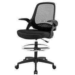 Ergonomic Mid-Back Mesh Drafting Chair with Lumbar Support F
