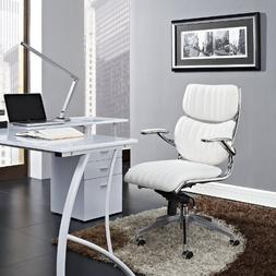 Modway Escape Ribbed Faux Leather Ergonomic Swivel Office Ch