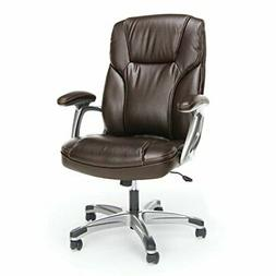 Executive Office Chair with Arms in Brown and Silver