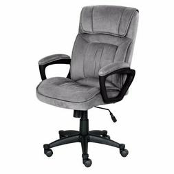 Serta Executive Office Chair in Velvet Gray Microfiber, Blac