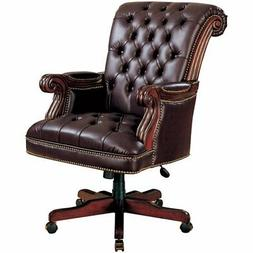 faux leather ergonomic tufted office chair in