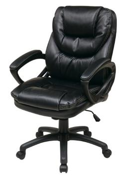 Office Star Faux Leather Manager's Chair with Padded Arms, B