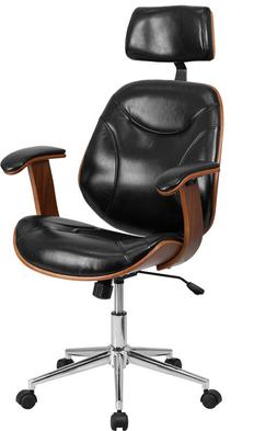 High Back Black Leather Executive Wood Office Chair - Office