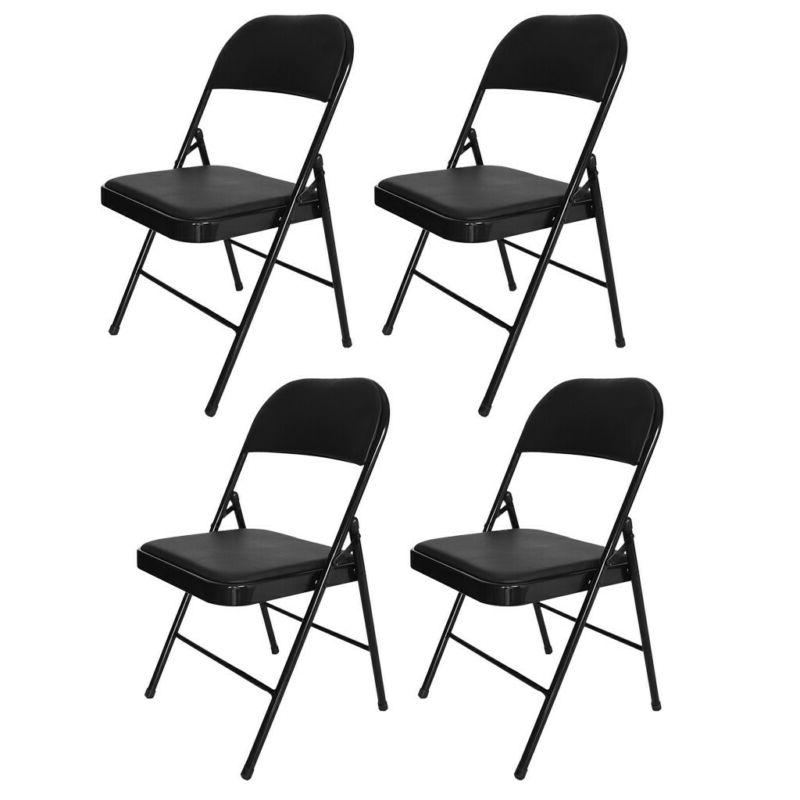 4Pcs Black Folding Chairs Fabric Upholstered Padded Seat Met