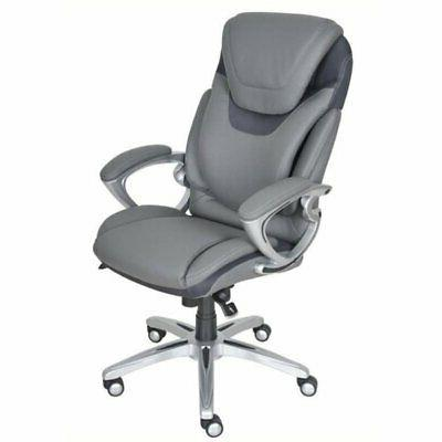 bonded leather executive office chair in gray