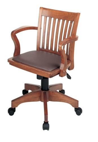Office Star Deluxe Wood Bankers Desk Chair with Brown Vinyl