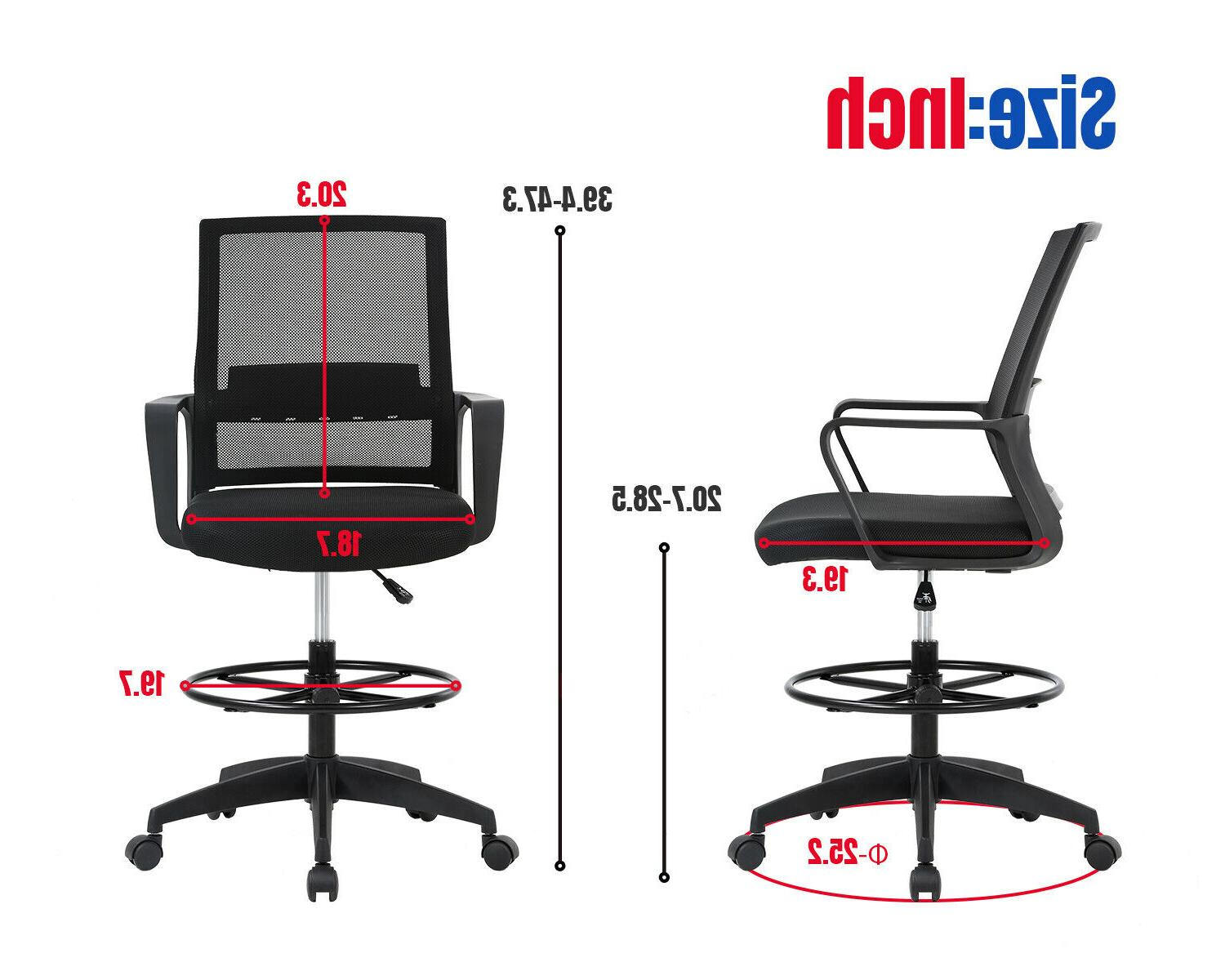 Drafting Tall Chair Adjustable Height Lumbar Support Arms