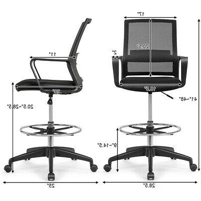 Drafting Tall Office Chair Adjustable w/Footrest