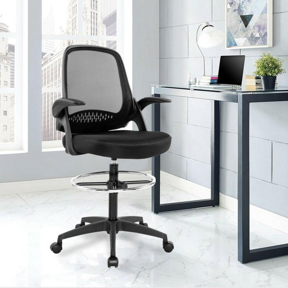 Ergonomic Mesh Drafting Chair with Support Arms Office