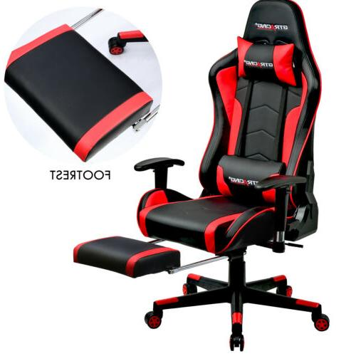Music Speaker Office Video Game Chair w/ Footrest