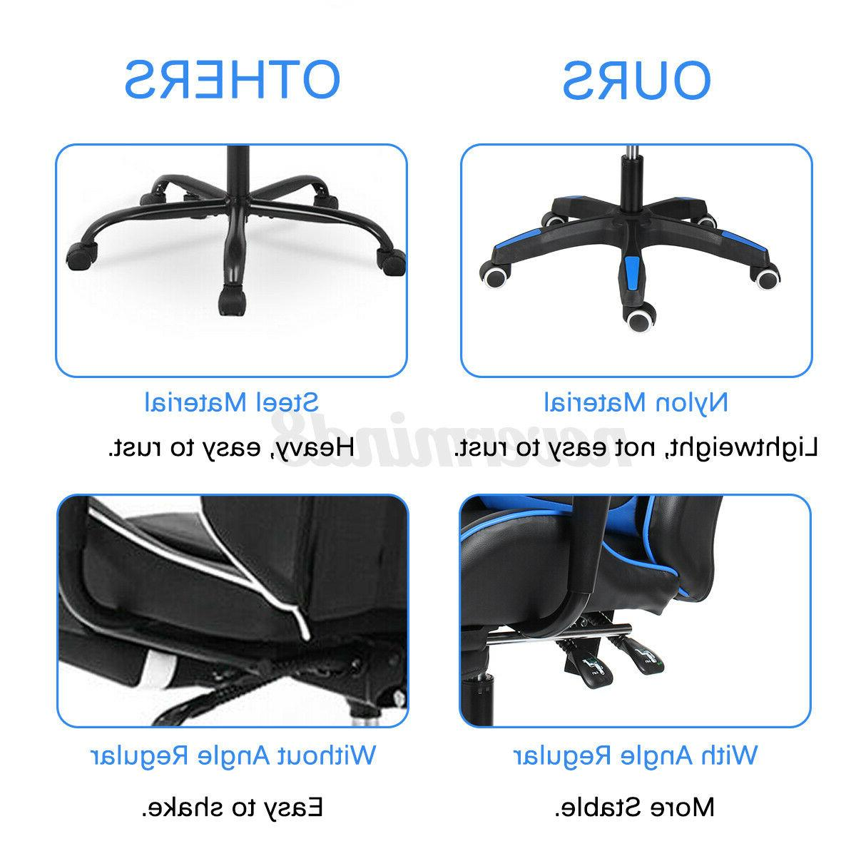 Office Ergonomic Gaming Chair Racing Computer Seat Footrest