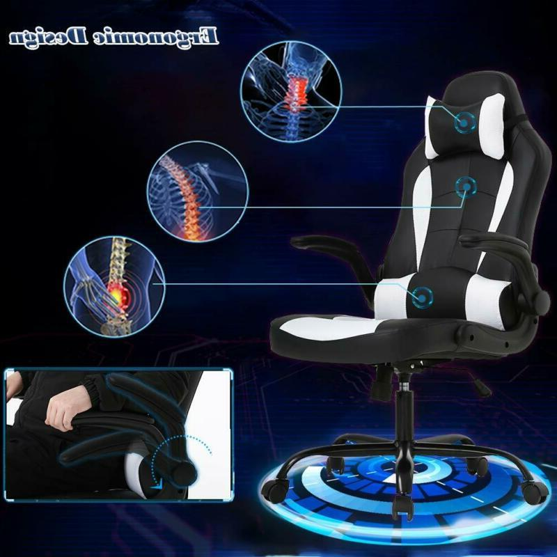 BestOffice PC Gaming Chair Ergonomic Support Flip Up Arms He