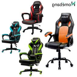 LEATHER ERGONOMIC GAMING RACING CHAIR COMPUTER DESK SWIVEL O