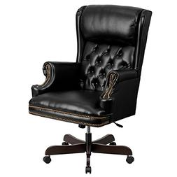 High-Back Traditional Tufted Black Leather Executive Swivel