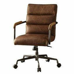 Bowery Hill Leather Swivel Office Chair in Retro Brown