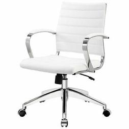 Modway Jive Ribbed Mid Back Executive Office Chair, White Vi