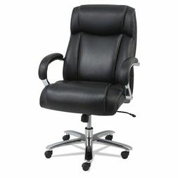Maxxis Series Big and Tall Leather Chair, Black/Chrome
