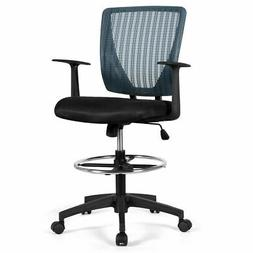 Mesh Drafting Chair Mid Back Office Chair Adjustable Height