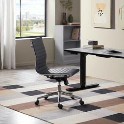 Adjustable Mid-Back Armless Office Task Chair Faux Leather R