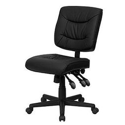 Mid-Back Black Leather Multi-Functional Task Chair No Arms