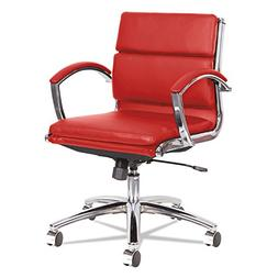 Neratoli Low-Back Slim Profile Chair, Red Soft Leather, Chro