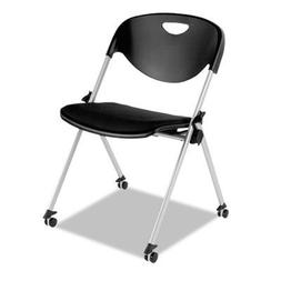 Nesting Stack Chair with Casters in Black - Set of 2