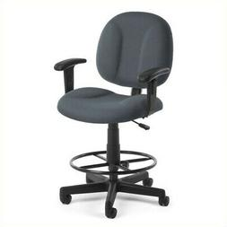 Bowery Hill Office Chair with Arms and Drafting Kit in Gray