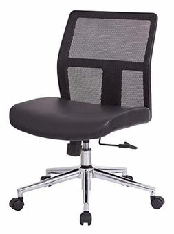 Office Star Mesh Back and Bonded Leather Seat, Aluminum Acce