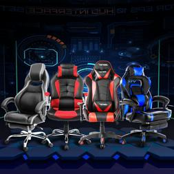 Merax Office Gaming Chair Footrest High Back Racing Chair Re