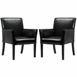 Goplus 2 PCS PU Leather Guest Chairs Reception Side Arm Chai