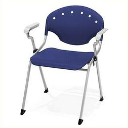 Bowery Hill Stack Stacking Chair with Arms in Silver and Blu