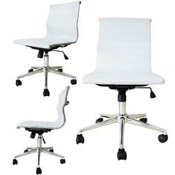 Modern Executive Office Chair Mid back Ribbed PU Leather Arm