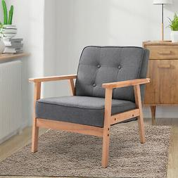 Wood Fabric Upholstered Mid-Century Modern Tufted Accent Arm